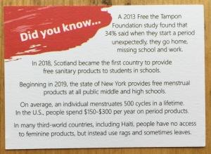 Menstruation Information Card