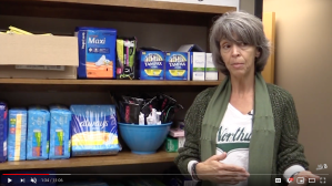 Channel 8 News, NWMSU, covers distribution of tampons on campus.